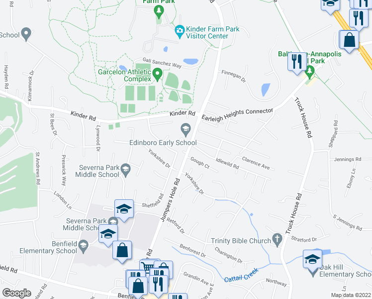 map of restaurants, bars, coffee shops, grocery stores, and more near 401 Edin Garth Road in Severna Park