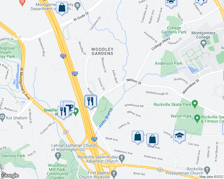 map of restaurants, bars, coffee shops, grocery stores, and more near 603 Blossom Drive in Rockville