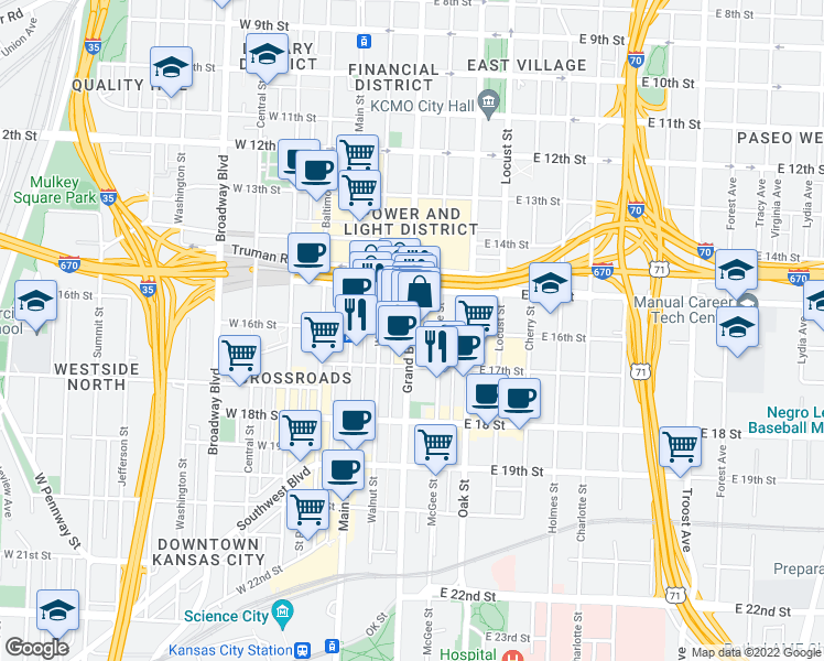 map of restaurants, bars, coffee shops, grocery stores, and more near 210 E 16th St in Kansas City