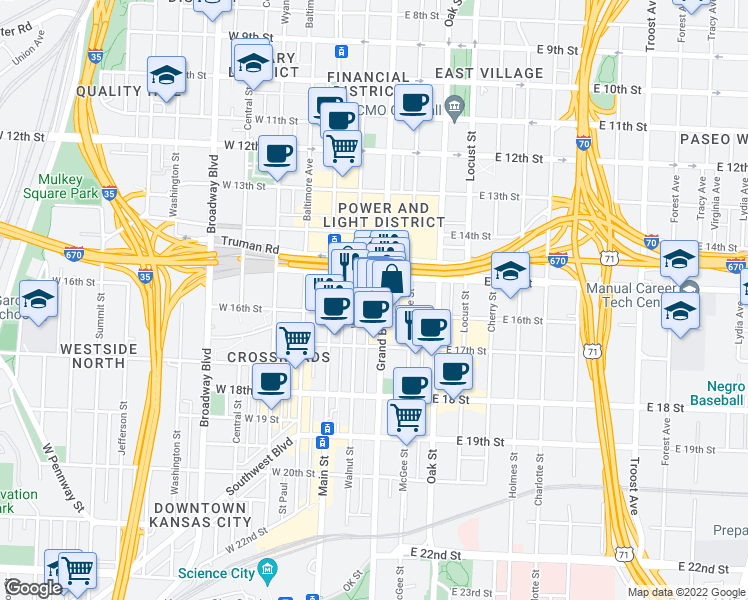 map of restaurants, bars, coffee shops, grocery stores, and more near 1524 Grand Blvd in Kansas City