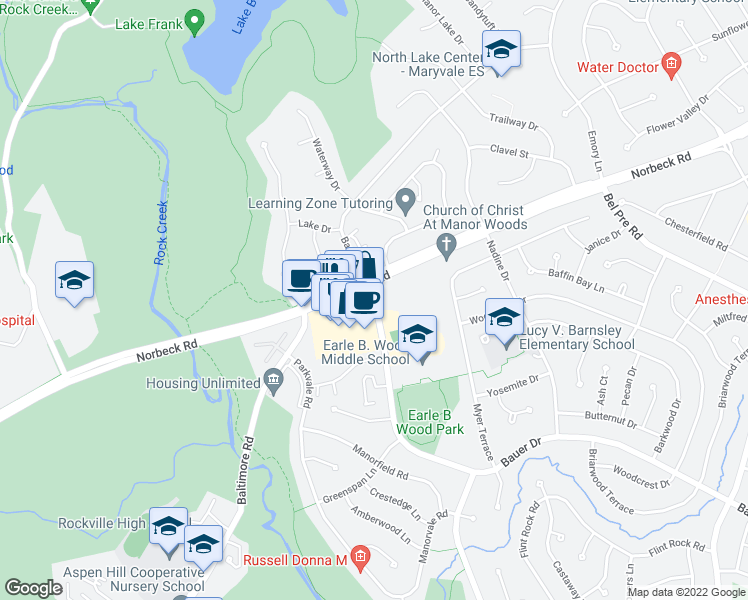 map of restaurants, bars, coffee shops, grocery stores, and more near 5400-5498 Norbeck Road in Rockville