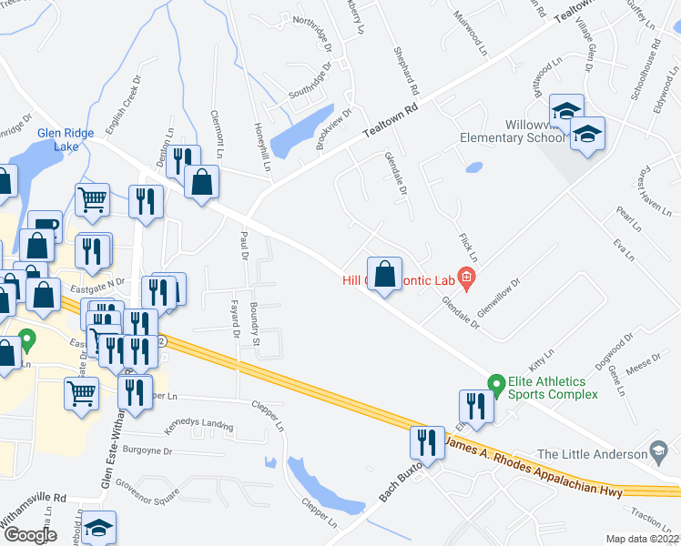 map of restaurants, bars, coffee shops, grocery stores, and more near Old State Route 74 in Clermont