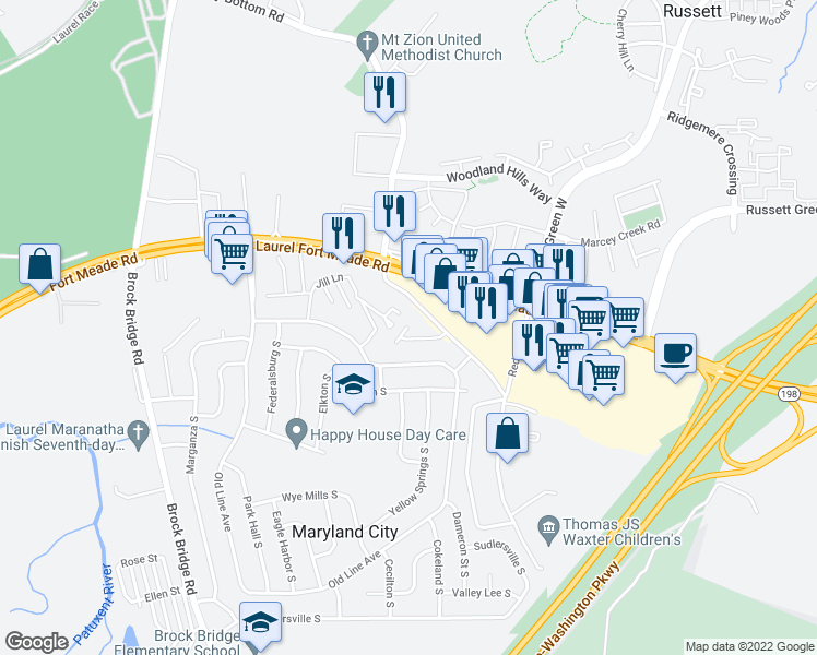 map of restaurants, bars, coffee shops, grocery stores, and more near 3492 Old Annapolis Road in Laurel
