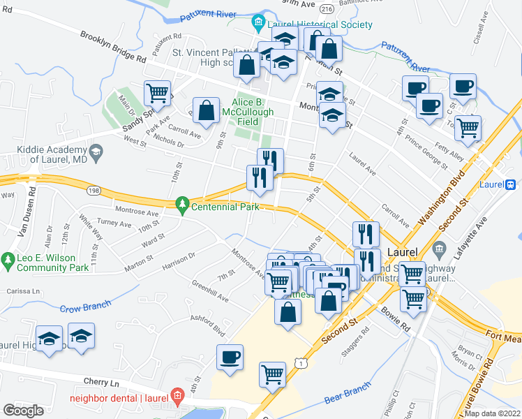 map of restaurants, bars, coffee shops, grocery stores, and more near 617 8th Street in Laurel