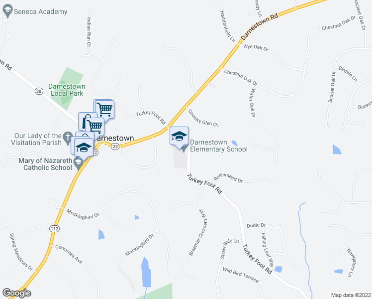 map of restaurants, bars, coffee shops, grocery stores, and more near 15030 Turkey Foot Road in Gaithersburg
