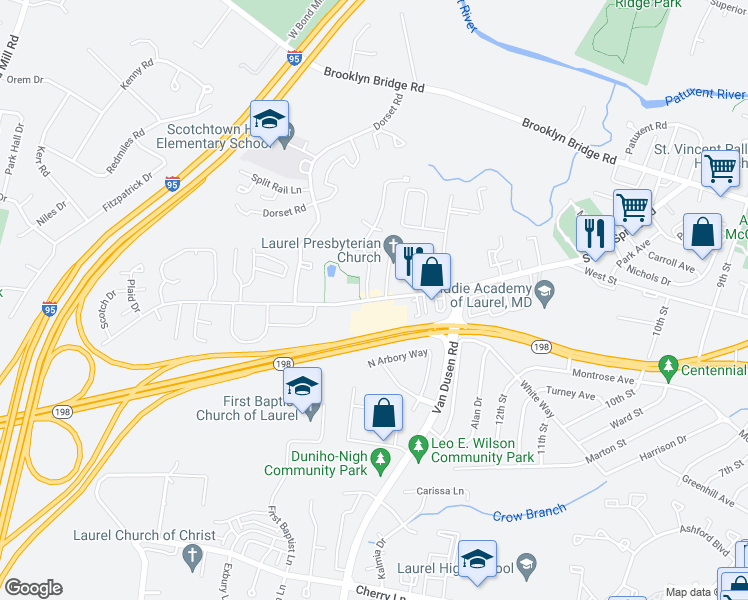 map of restaurants, bars, coffee shops, grocery stores, and more near 7511 Sandy Spring Road in Laurel