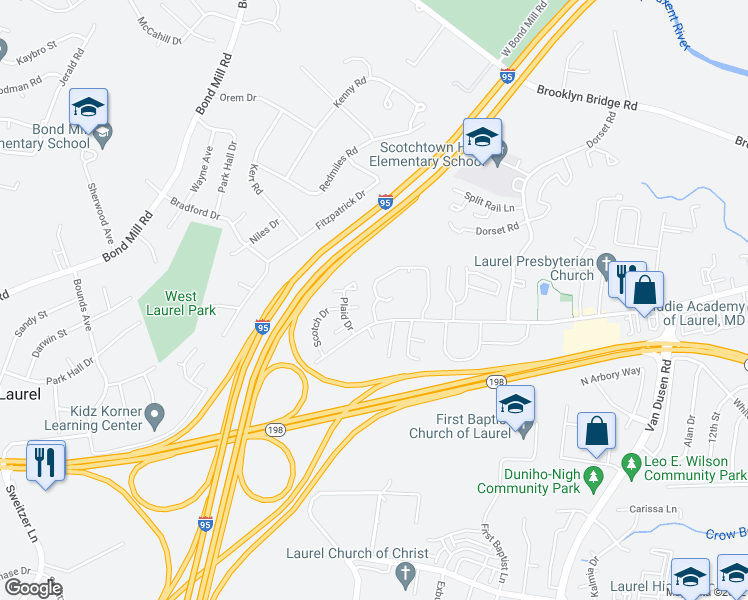 map of restaurants, bars, coffee shops, grocery stores, and more near 15625 Plaid Drive in Laurel