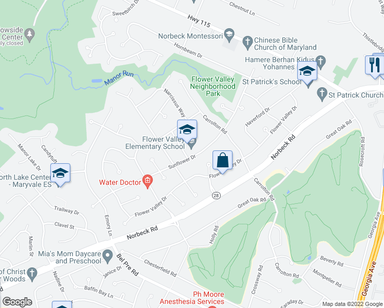 map of restaurants, bars, coffee shops, grocery stores, and more near 4632 Sunflower Dr in Rockville