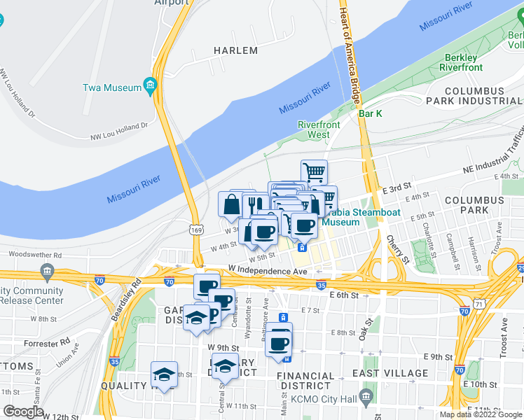 map of restaurants, bars, coffee shops, grocery stores, and more near 213 Delaware Street in Kansas City