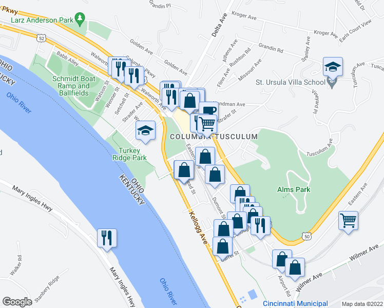 map of restaurants, bars, coffee shops, grocery stores, and more near 3601-3649 Eastern Avenue in Cincinnati