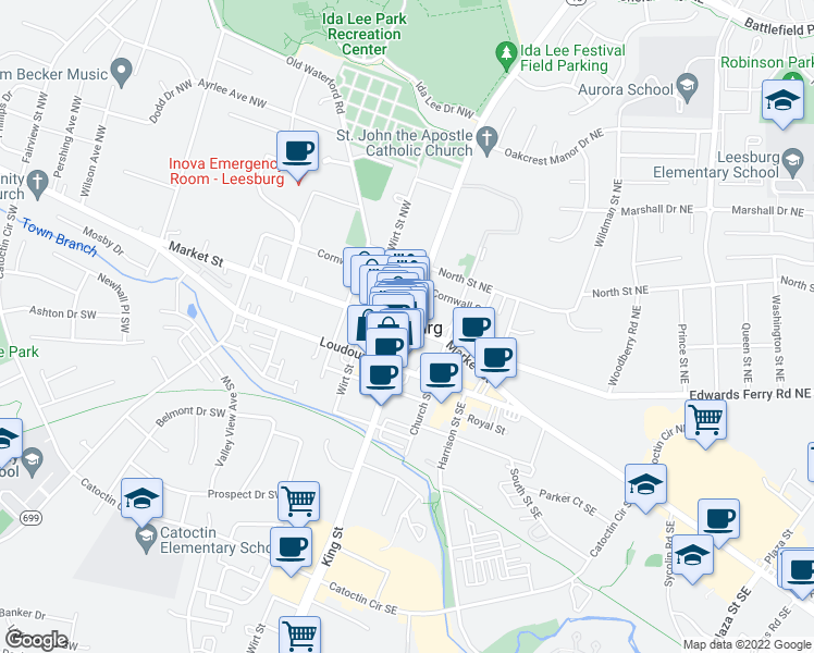 map of restaurants, bars, coffee shops, grocery stores, and more near 7 West Market Street in Leesburg