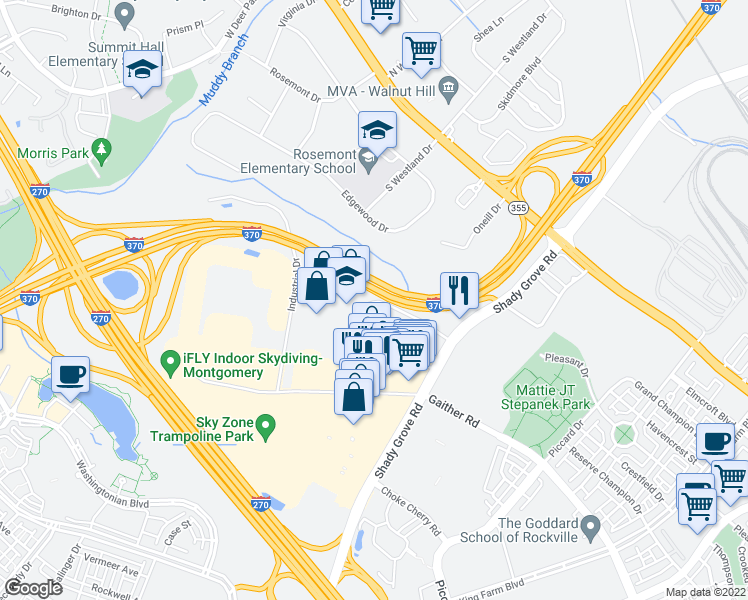 map of restaurants, bars, coffee shops, grocery stores, and more near 9030 Comprint Ct in Gaithersburg