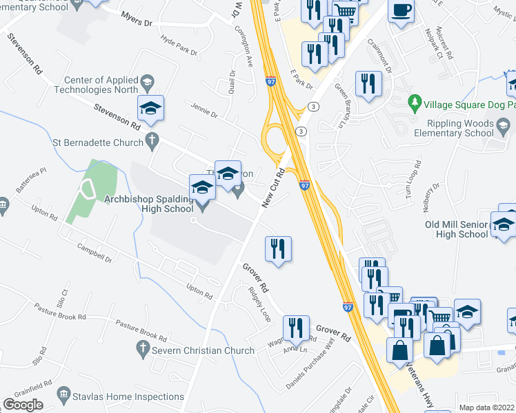 map of restaurants, bars, coffee shops, grocery stores, and more near Archbishop Spalding HS in Severn