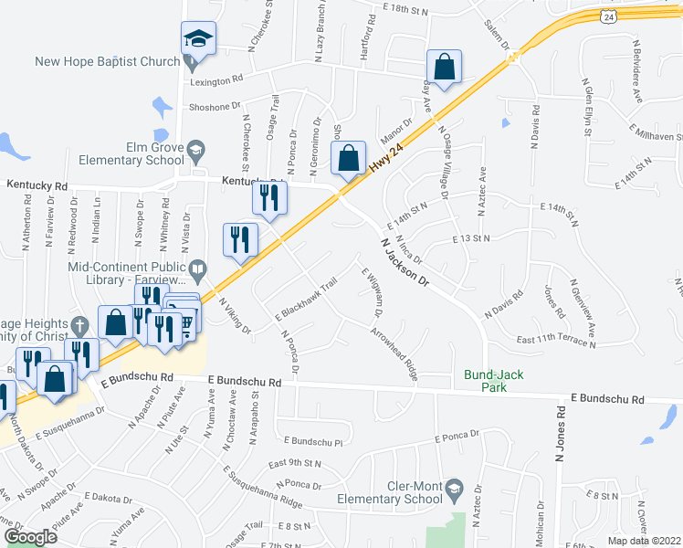 map of restaurants, bars, coffee shops, grocery stores, and more near 18706 Blackhawk Trail in Independence