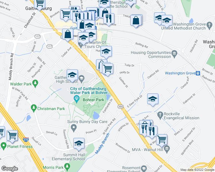 map of restaurants, bars, coffee shops, grocery stores, and more near 512-538 South Frederick Avenue in Gaithersburg