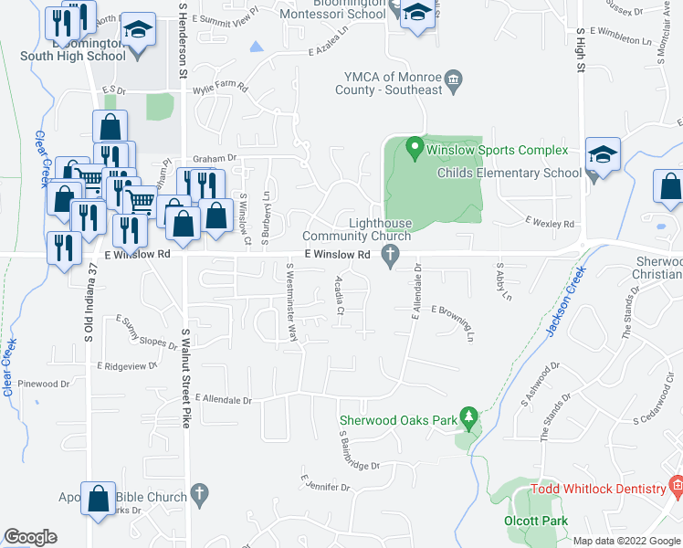map of restaurants, bars, coffee shops, grocery stores, and more near 3014-3178 Acadia Ct in Bloomington