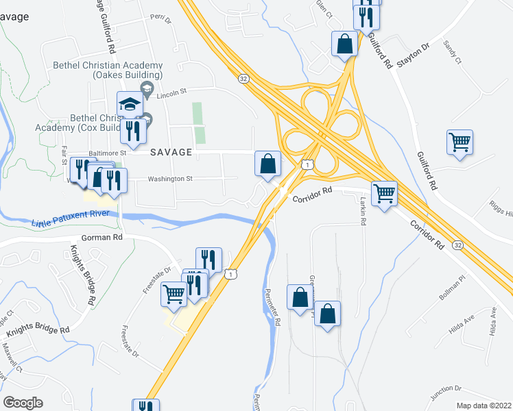 map of restaurants, bars, coffee shops, grocery stores, and more near 8730-8884 Foxborough Drive in Savage