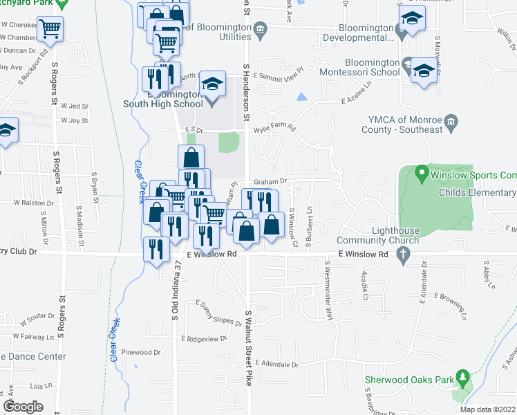map of restaurants, bars, coffee shops, grocery stores, and more near 2339-2359 Brandon Ct in Bloomington