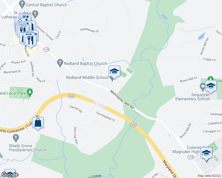 map of restaurants, bars, coffee shops, grocery stores, and more near 6508 Muncaster Mill Rd in Rockville