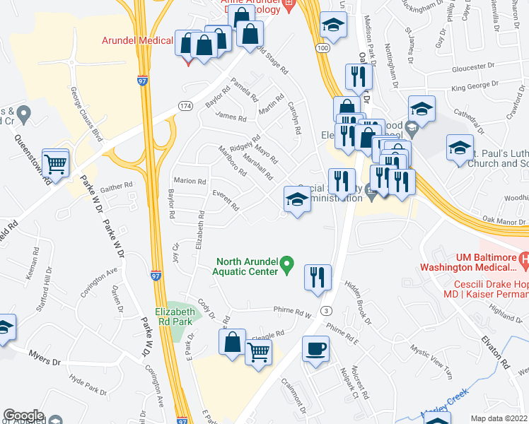 map of restaurants, bars, coffee shops, grocery stores, and more near 303 Baylor Road in Glen Burnie