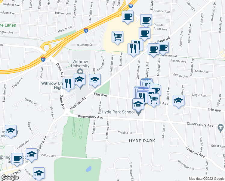 map of restaurants, bars, coffee shops, grocery stores, and more near 3516 Stettinius Avenue in Cincinnati