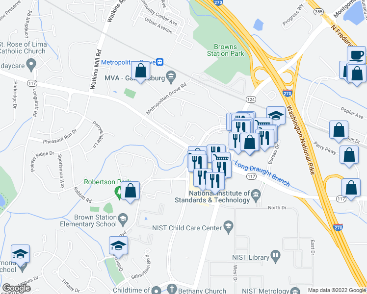 map of restaurants, bars, coffee shops, grocery stores, and more near 700-748 Clopper Road in Gaithersburg