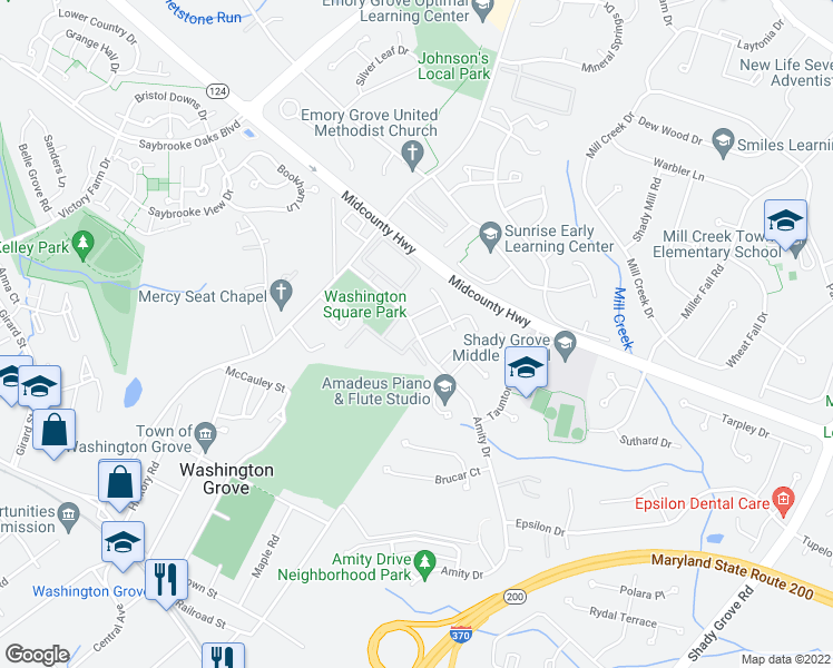 map of restaurants, bars, coffee shops, grocery stores, and more near 8122-8198 Fallow Drive in Gaithersburg