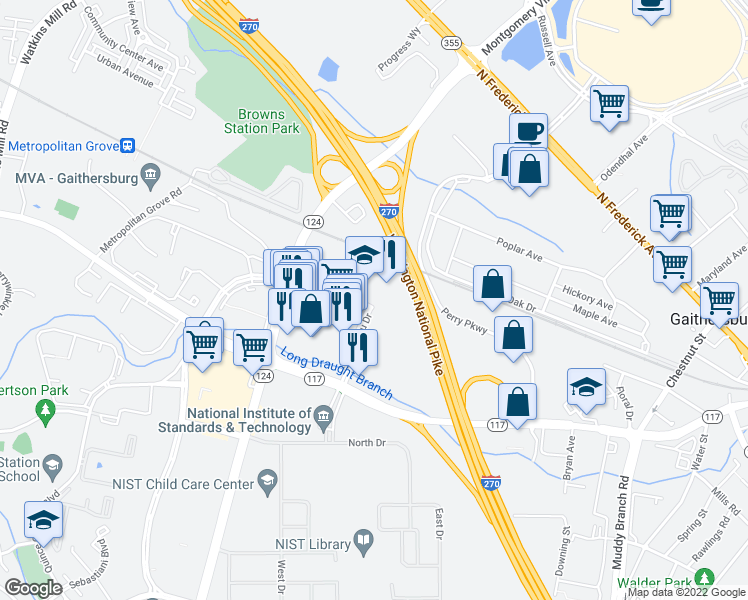 map of restaurants, bars, coffee shops, grocery stores, and more near 50 Bureau Drive in Gaithersburg