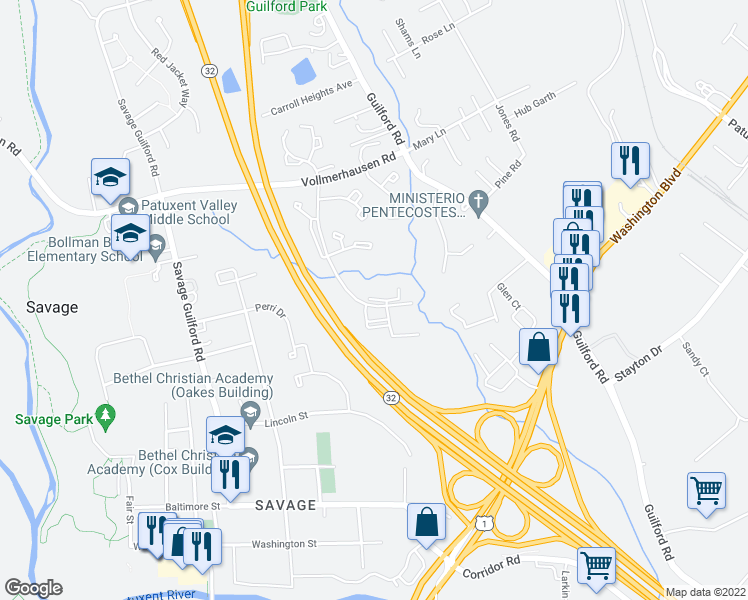 map of restaurants, bars, coffee shops, grocery stores, and more near Ari Court in Jessup