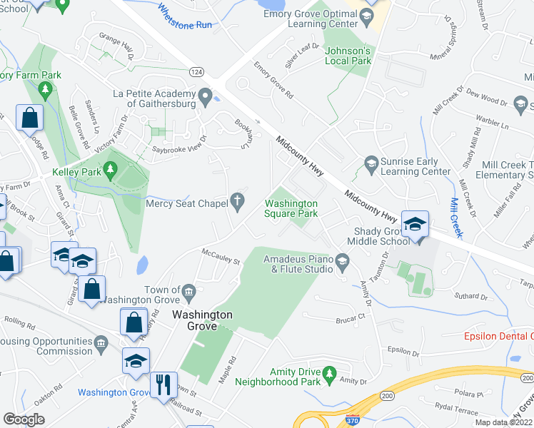 map of restaurants, bars, coffee shops, grocery stores, and more near 17620 Washington Grove Lane in Gaithersburg