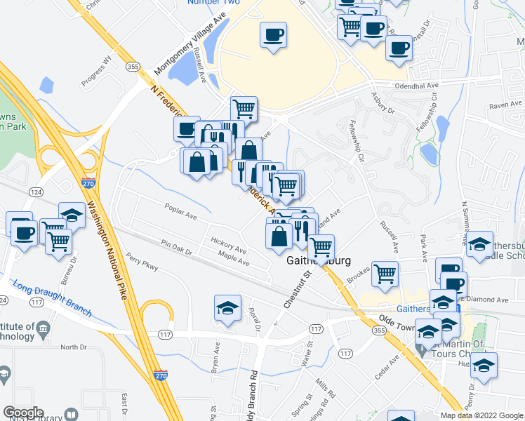 map of restaurants, bars, coffee shops, grocery stores, and more near 425A North Frederick Avenue in Gaithersburg