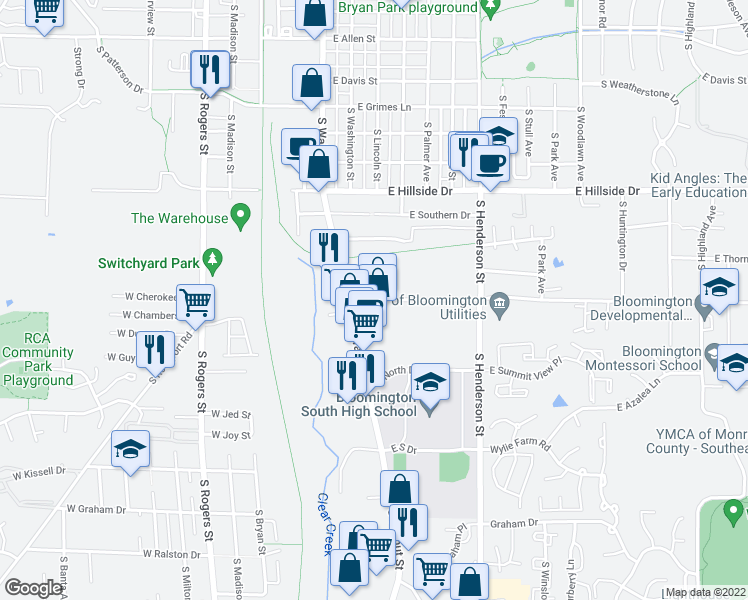 map of restaurants, bars, coffee shops, grocery stores, and more near 101-333 East Miller Drive in Bloomington