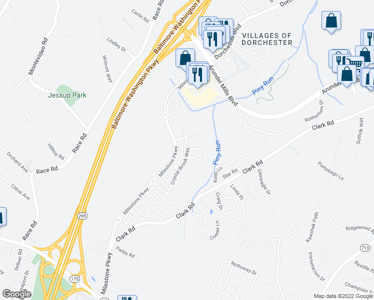 map of restaurants, bars, coffee shops, grocery stores, and more near Crystal Brook Way in Anne Arundel