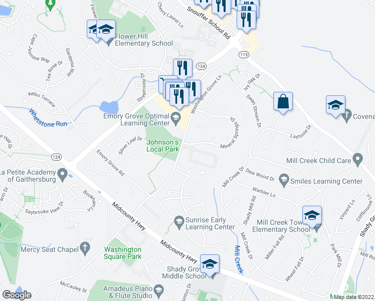 map of restaurants, bars, coffee shops, grocery stores, and more near 7901-7945 Spiceberry Circle in Gaithersburg