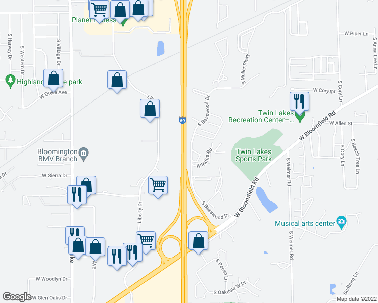 map of restaurants, bars, coffee shops, grocery stores, and more near South Basswood Drive in Bloomington