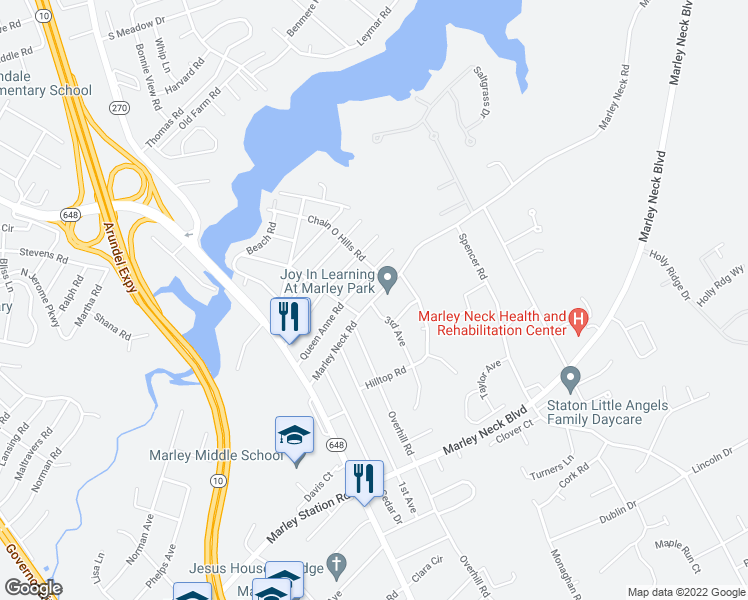 map of restaurants, bars, coffee shops, grocery stores, and more near 106-164 Marley Neck Rd in Glen Burnie