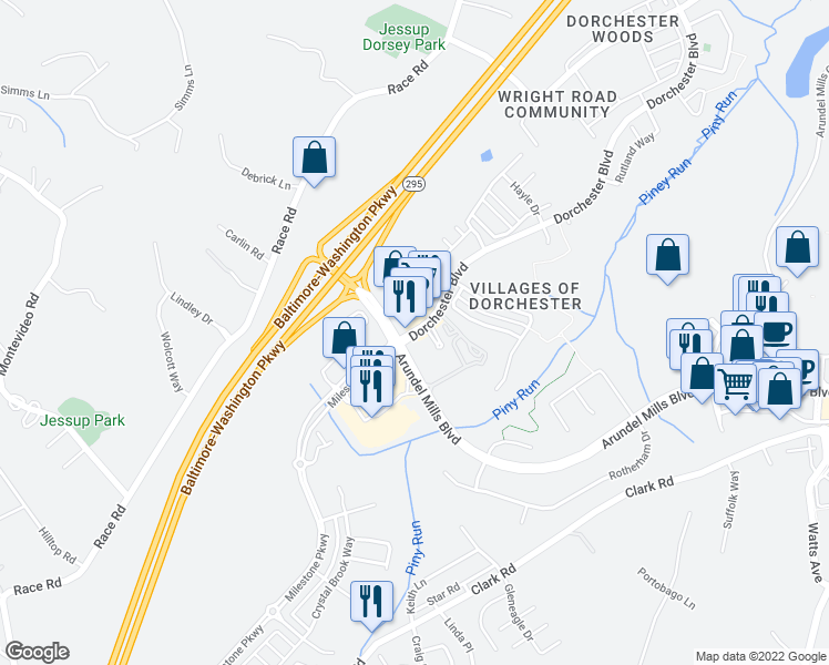 map of restaurants, bars, coffee shops, grocery stores, and more near 2104 Piney Branch Circle in Hanover