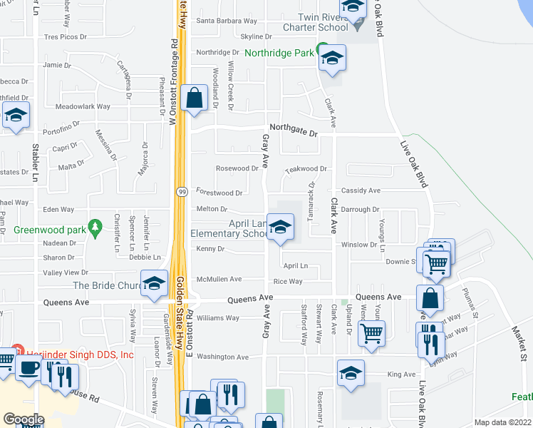 map of restaurants, bars, coffee shops, grocery stores, and more near Gray Ave & Melton Dr in Yuba City