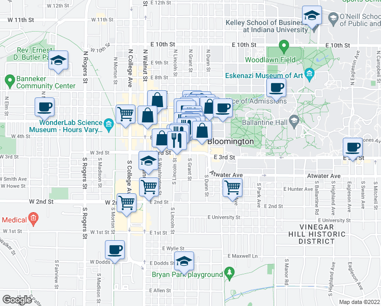 map of restaurants, bars, coffee shops, grocery stores, and more near 309 East 3rd Street in Bloomington