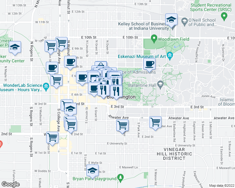 map of restaurants, bars, coffee shops, grocery stores, and more near 212 South Indiana Avenue in Bloomington