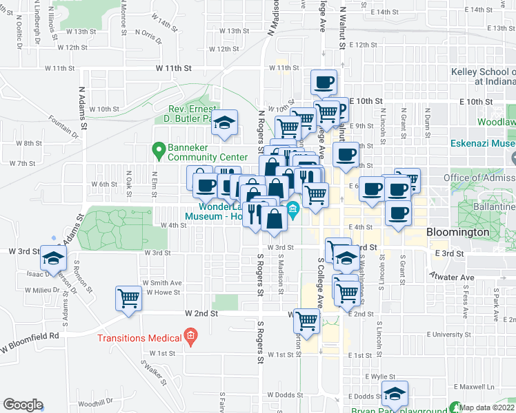 map of restaurants, bars, coffee shops, grocery stores, and more near 555-599 West Kirkwood Avenue in Bloomington
