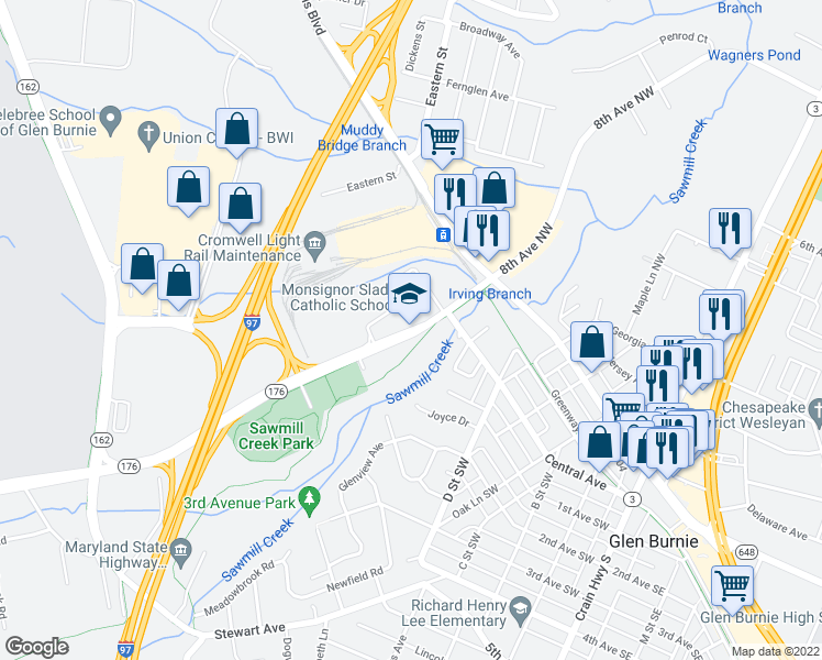 map of restaurants, bars, coffee shops, grocery stores, and more near Dorsey Rd in Glen Burnie