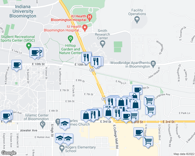 map of restaurants, bars, coffee shops, grocery stores, and more near in Bloomington