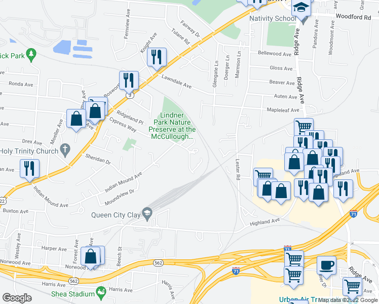 map of restaurants, bars, coffee shops, grocery stores, and more near 2846 Cypress Way in Cincinnati