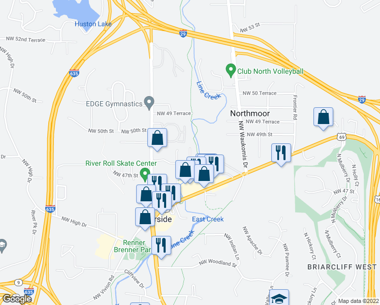 map of restaurants, bars, coffee shops, grocery stores, and more near 4837 NW Homestead Terrace in Riverside