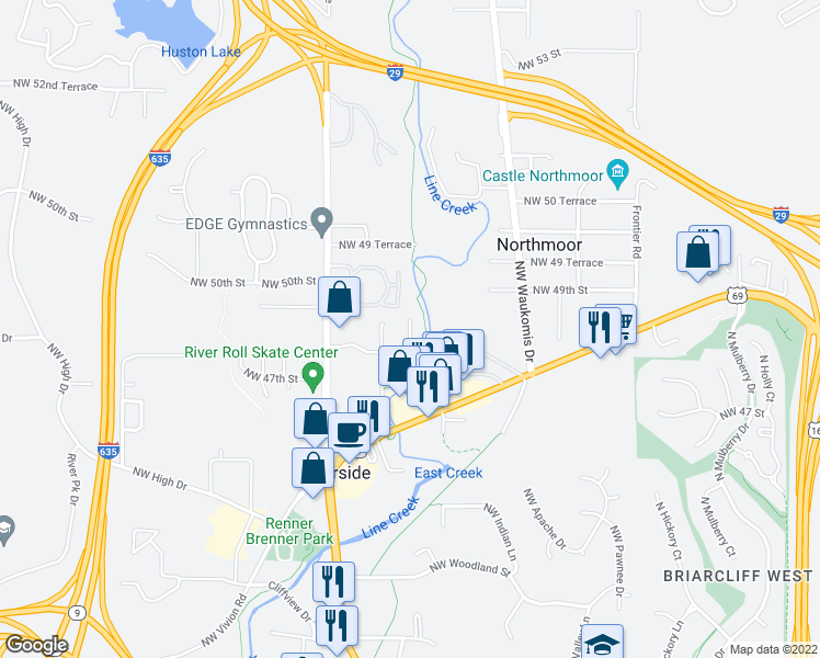 map of restaurants, bars, coffee shops, grocery stores, and more near Line Creek Trail in Kansas City