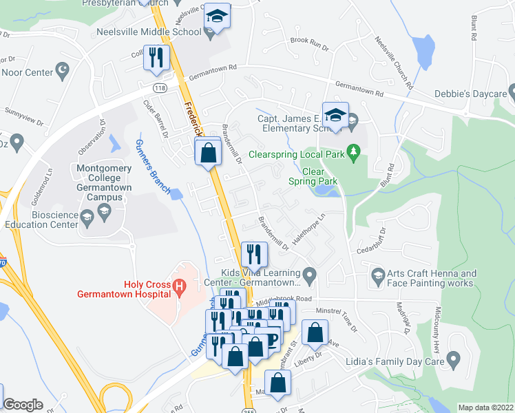 map of restaurants, bars, coffee shops, grocery stores, and more near Brandermill Drive in Germantown