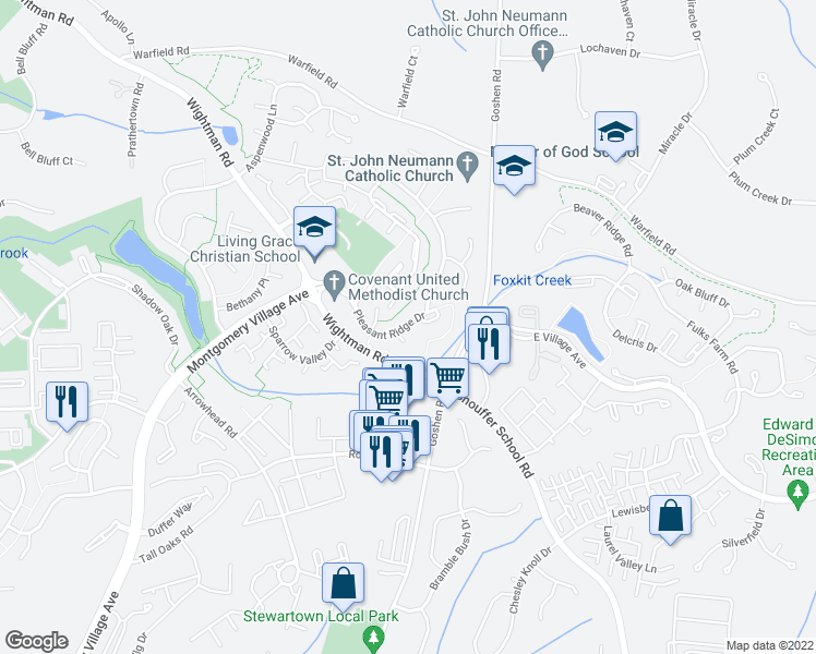 map of restaurants, bars, coffee shops, grocery stores, and more near 9104 Bakerhill Ct in Gaithersburg