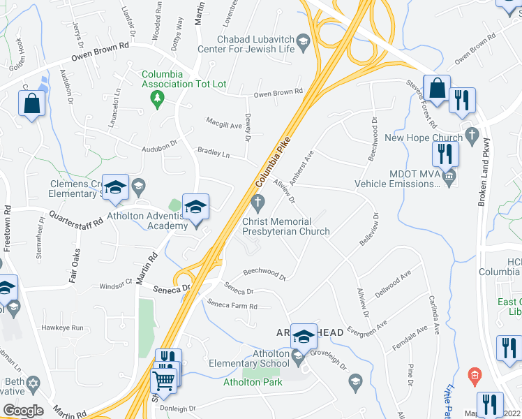map of restaurants, bars, coffee shops, grocery stores, and more near 6408 Amherst Avenue in Columbia