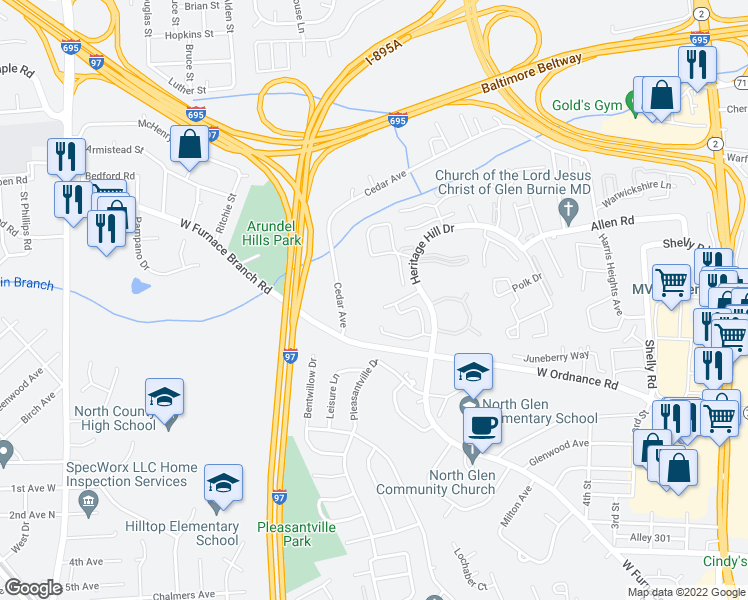 map of restaurants, bars, coffee shops, grocery stores, and more near Grafton Garth Ct in Glen Burnie